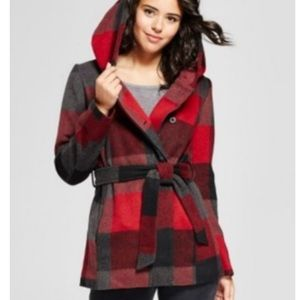 NWOT Xhilaration Buffalo plaid pea coat size Small